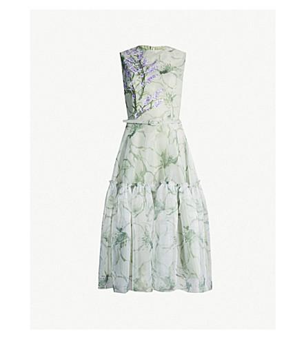 COSTARELLOS Embroidered floral-print crepe midi dress (Pastel green