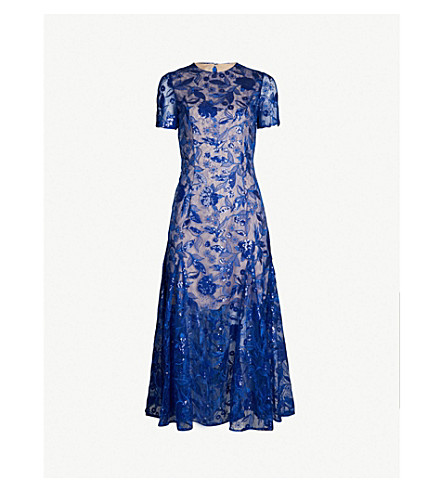 COSTARELLOS Sequinned floral lace dress (Blue
