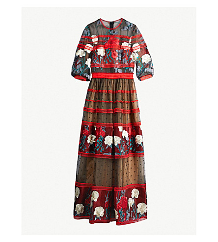 COSTARELLOS Floral-embroidered panelled tulle gown (Black w red flowers