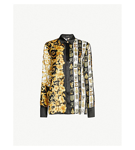 VERSACE Baroque and alphabet-print silk-twill shirt (Gold print