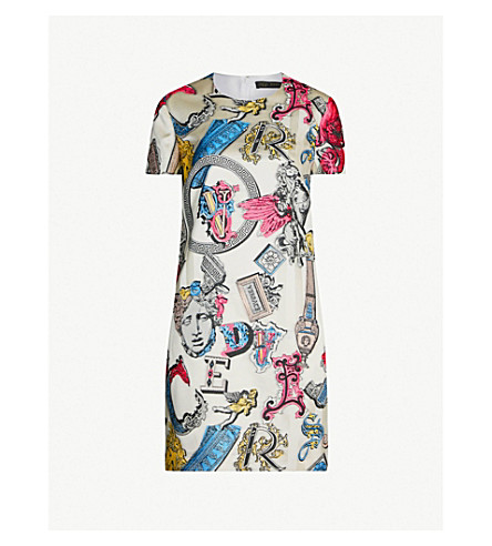 VERSACE Alphabet-print crepe dress (Khaki