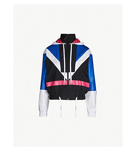 VERSACE Colour-blocked shell jacket (L blue wht blk fuchsia