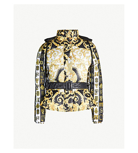 VERSACE Scarf-print shell-down jacket (Gold print