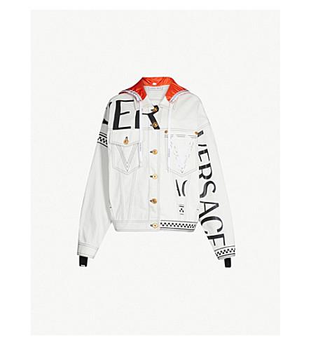 VERSACE Hooded denim jacket (Denim white orange