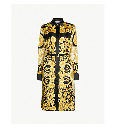 VERSACE Baroque-print silk-twill dress (Gold print