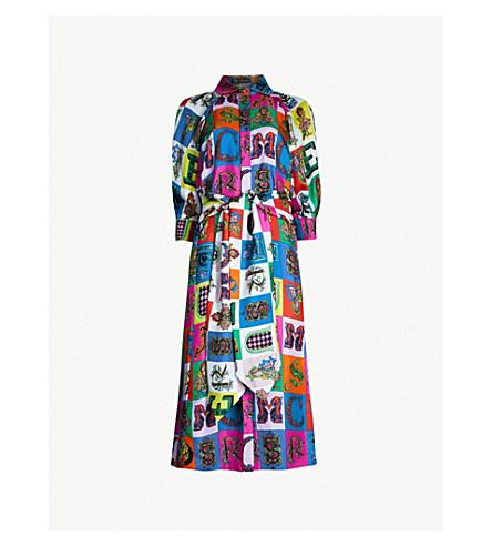 VERSACE Alphabet-print silk midi dress (Multicolor