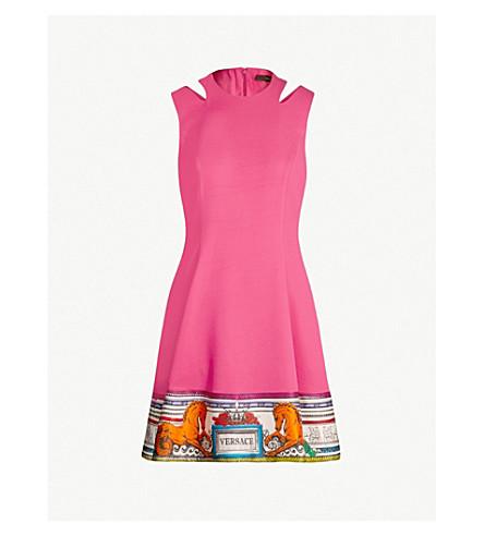 VERSACE Printed-hem stretch-crepe dress (Fuxia