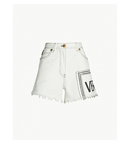 VERSACE Frayed-hem logo-print high-rise denim shorts (Denim ecru