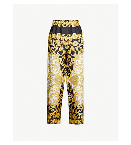 VERSACE Baroque-print high-rise wide silk-twill cropped pants (Gold print