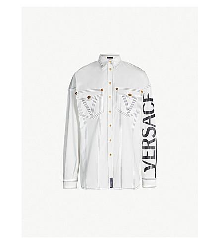 VERSACE Logo-print oversized denim overshirt (Denim ecru