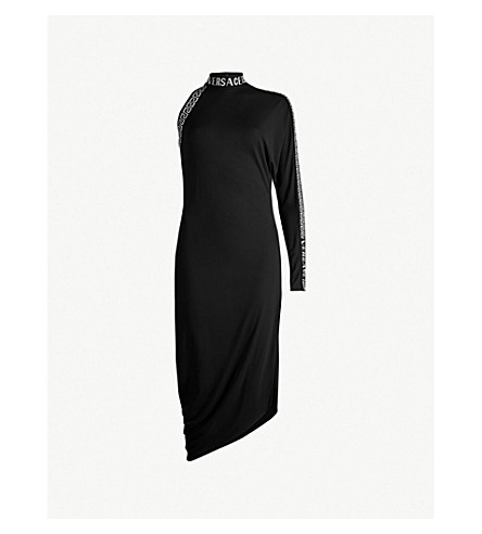 VERSACE One-sleeved jersey midi dress (Black