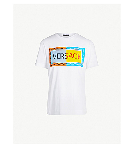 VERSACE Logo-print cotton-jersey T-shirt (Optical white