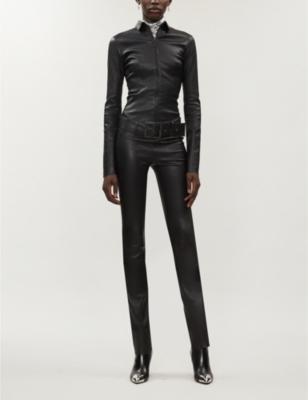Kill buckle-belt leather jumpsuit