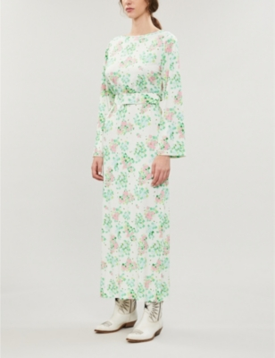 Monica floral-print stretch-satin midi dress