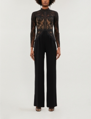 Misa high-neck lace and crepe wide-leg jumpsuit