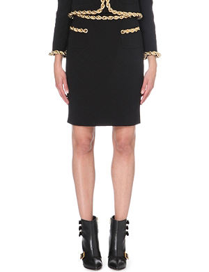 MOSCHINO Chain-detail quilted pencil skirt
