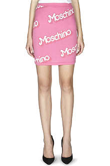 MOSCHINO Logo-detail knitted skirt