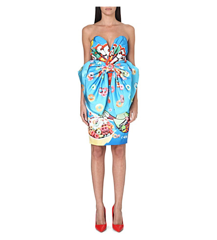 MOSCHINO Froggy Loops bow dress (Blue multi