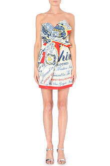 MOSCHINO Logo-print strapless satin dress