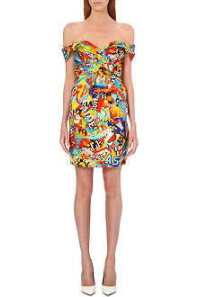 MOSCHINO Cereal print silk dress