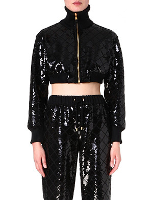 MOSCHINO Sequin-embellished cropped jacket