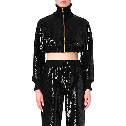 MOSCHINO Sequin-embellished cropped jacket (Blk