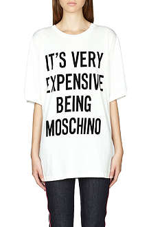 MOSCHINO Slogan-print cotton t-shirt