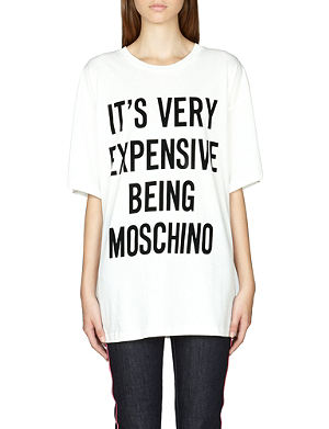 MOSCHINO Slogan-print cotton t-shirt