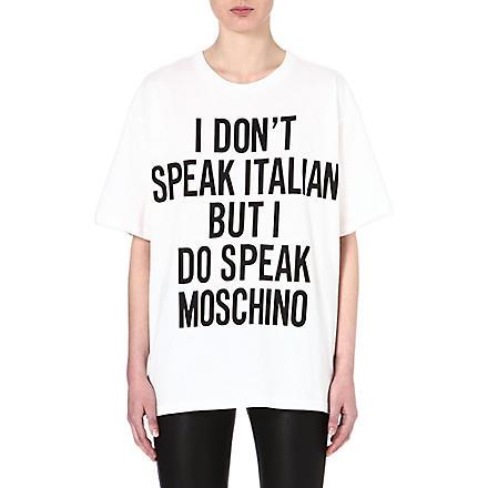 MOSCHINO I Don't Speak Italian cotton t-shirt (White