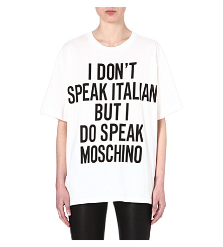 MOSCHINO I Don't Speak Italian cotton t-shirt (White