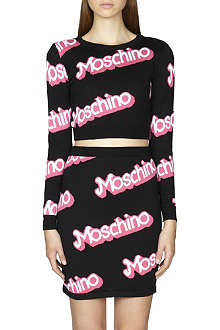 MOSCHINO Logo-detail cropped cotton jumper