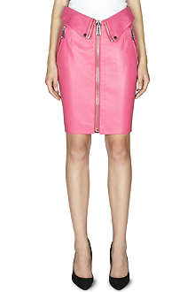 MOSCHINO Zip-detail leather skirt
