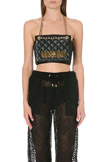 MOSCHINO Logo-detailed quilted leather bag top