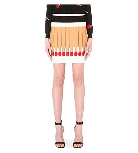 MOSCHINO Matchstick knitted mini skirt (Fantasy+print+white
