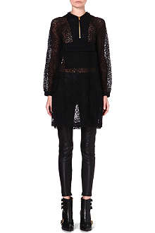 MOSCHINO Hooded sheer lace dress