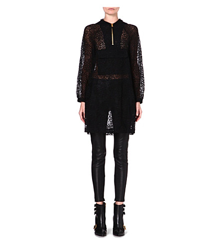 MOSCHINO Hooded sheer lace dress (555