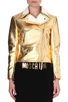 MOSCHINO Metallic gold biker jacket