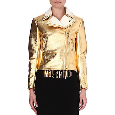 MOSCHINO Metallic gold biker jacket (1606