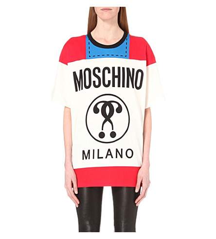 MOSCHINO Logo-print cotton-jersey t-shirt (Fantasy+print+white