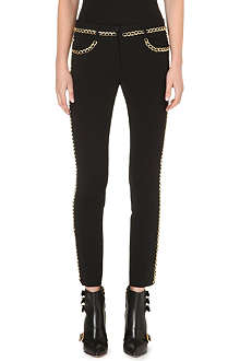 MOSCHINO Gold-chain detail slim straight trousers