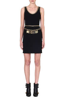 MOSCHINO Gold chain-detail dress