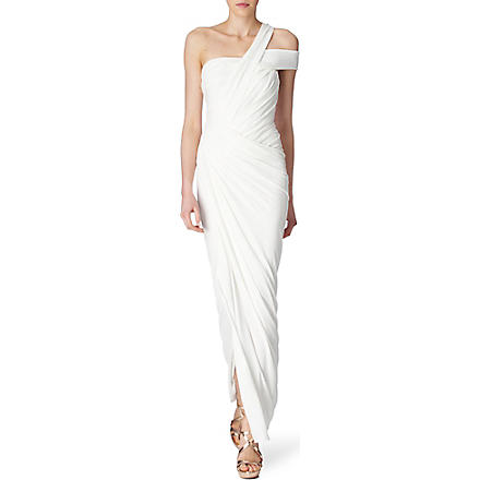 DONNA KARAN One–shoulder twist gown (White