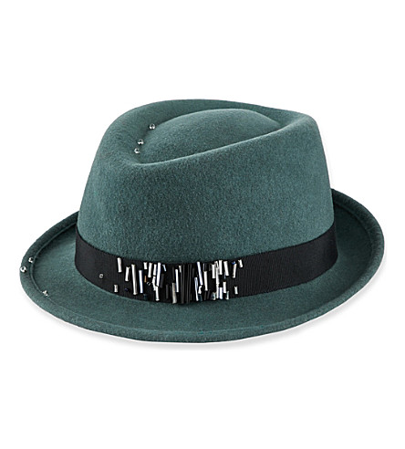STEPHEN JONES Ford bead-detailed trilby (Teal