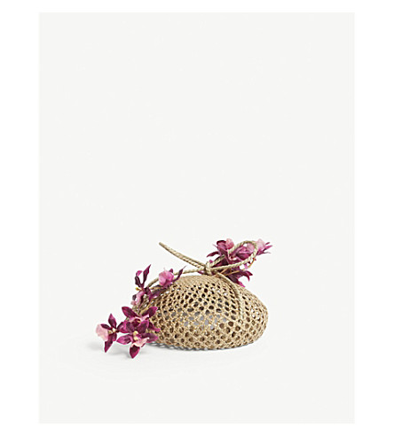 STEPHEN JONES Rangoon floral straw hat (Natural+pink