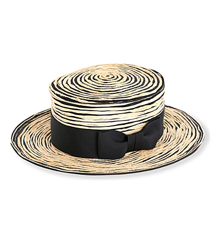 STEPHEN JONES Stitched raffia boater hat (Black/sand
