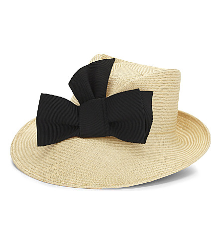 STEPHEN JONES Bow straw trilby hat (Sand/black