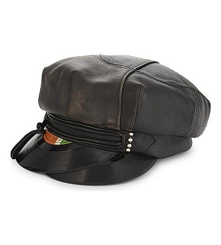 STEPHEN JONES Music 5 leather biker cap (Black