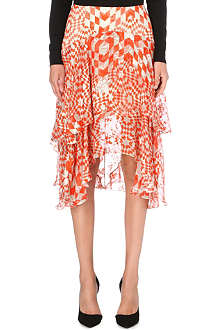 PREEN Geometric-print tiered silk skirt