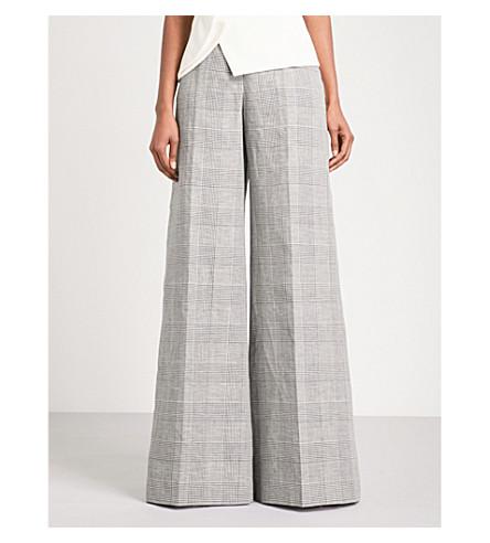 ANTONIO BERARDI Manuele wide high-rise wool, linen and silk-blend trousers (Nero/bianco
