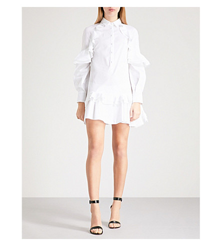 ANTONIO BERARDI Matilde ruffled stretch-cotton mini dress (White